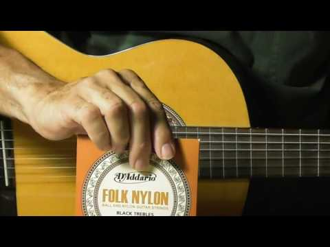 How to restring change Nylon Guitar Strings Review D'Addario EJ34 BALL end Folk Strings Classical