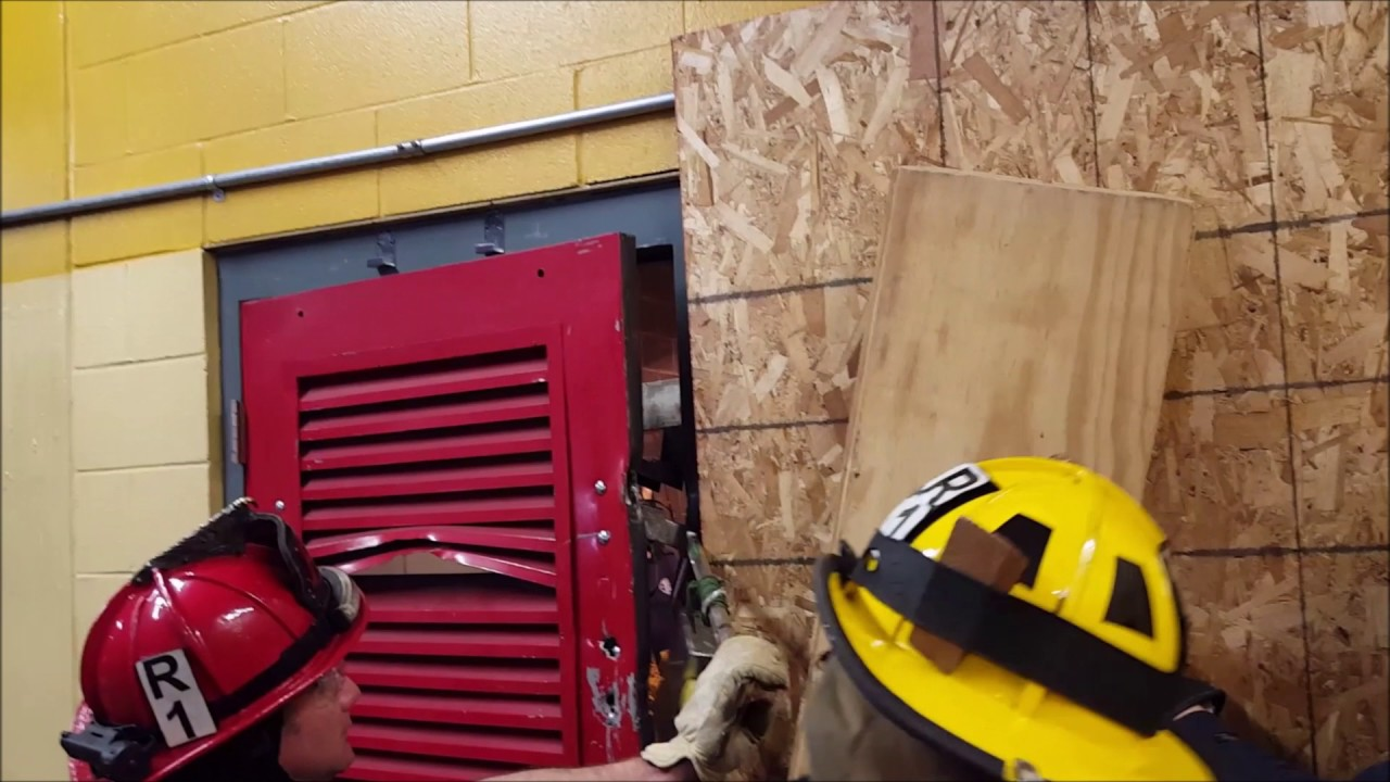 Outward opening door drop bar forcible entry 2 - YouTube