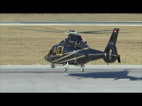 [HD] Eurocopter EC155 Dauphin arrival & departure at Innsbruck Airport - 19/12/2015