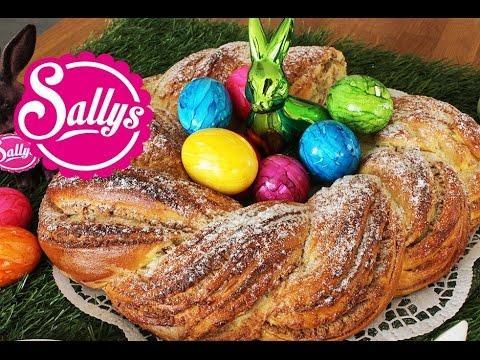 Osterkranz / Frühjahrskranz mit Marzipan-Mandel-Füllung / Sallys Welt