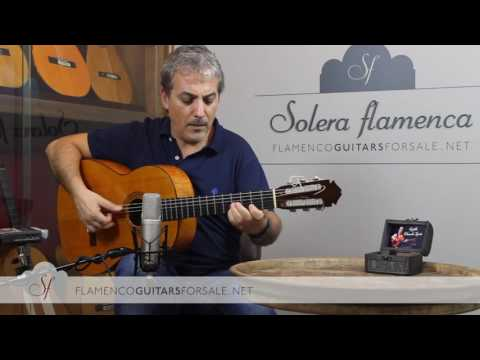 Marcelino López Nieto 1961 flamenco guitar for sale played by Pedro Javier González