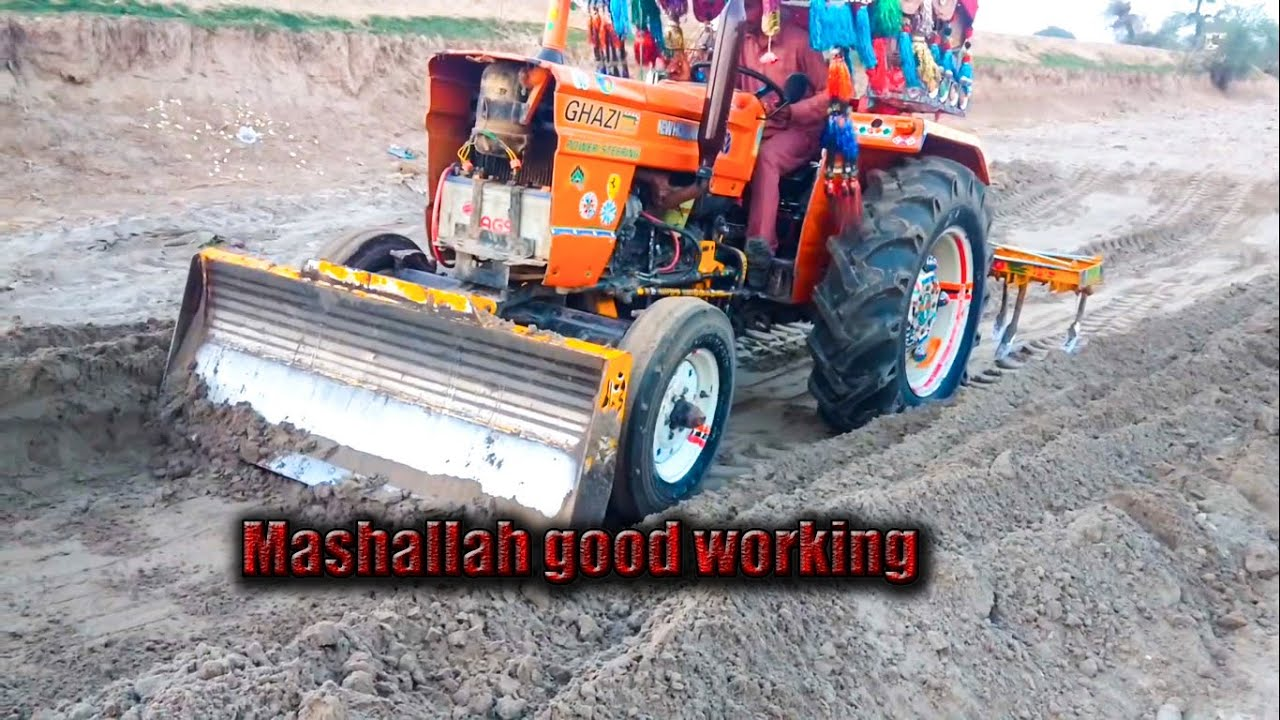 tractor in pakistan with front blade and back plough||pakistani jugar||akbar tractor wala