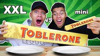XXL ESSEN VS MINI ESSEN CHALLENGE !!! (GRÖßTE TOBLERONE DER WELT) | Kelvin und Marvin