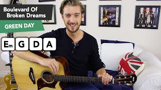 Boulevard Of Broken Dreams Acoustic Guitar Tutorial - Chords & SOLO! Green Day
