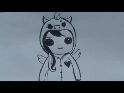 Dibujo Sencillo Chica Con Pijama Kawai De Unicornio Drawing Oo