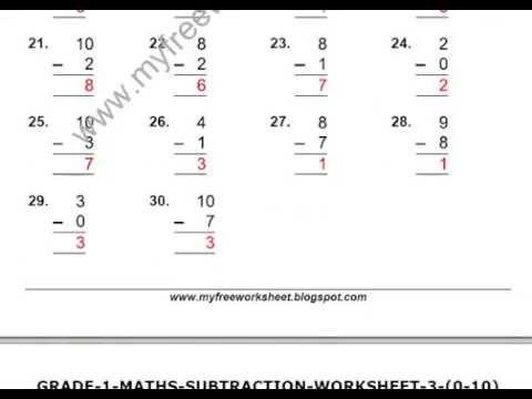math worksheet : maths subtraction worksheets for class 1  youtube : Worksheets Of Maths For Class 1