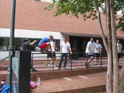 Davidson College Students try Parkour