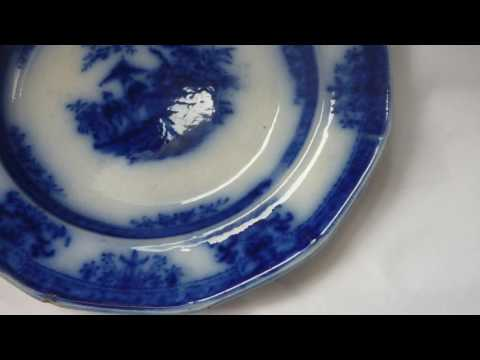Antique Staffordshire Davenport Amoy 1840s Flow Blue China Ironstone Plate 7.5'