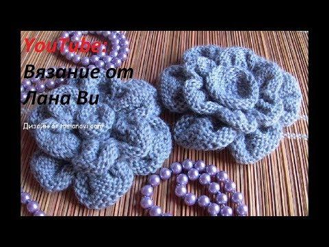 Вязание цветка на шапку спицами