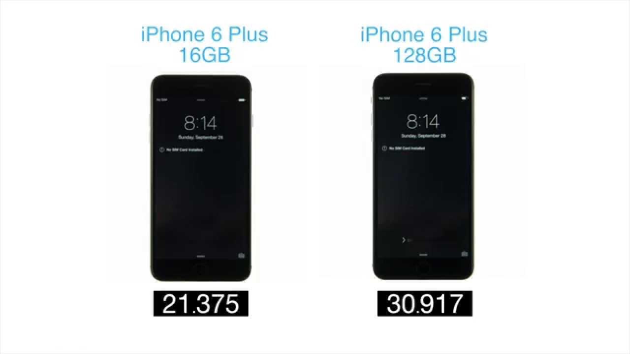 iphone boot test 16gb iphone 6 plus vs 128gb iphone 6. Black Bedroom Furniture Sets. Home Design Ideas