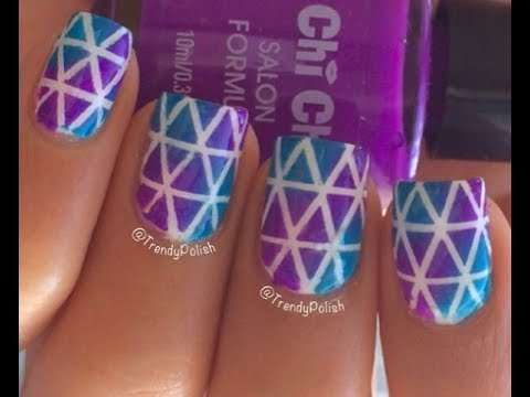 blue & purple tape mani nail art