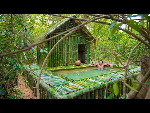 Build Grass Thatch Bamboo Hut with Lovely Swimming Pool By Jungle Survival