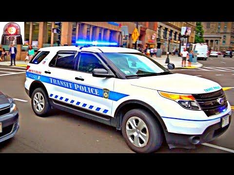 Boston Transit Police Ford Interceptor Utility Responding with Siren Horn