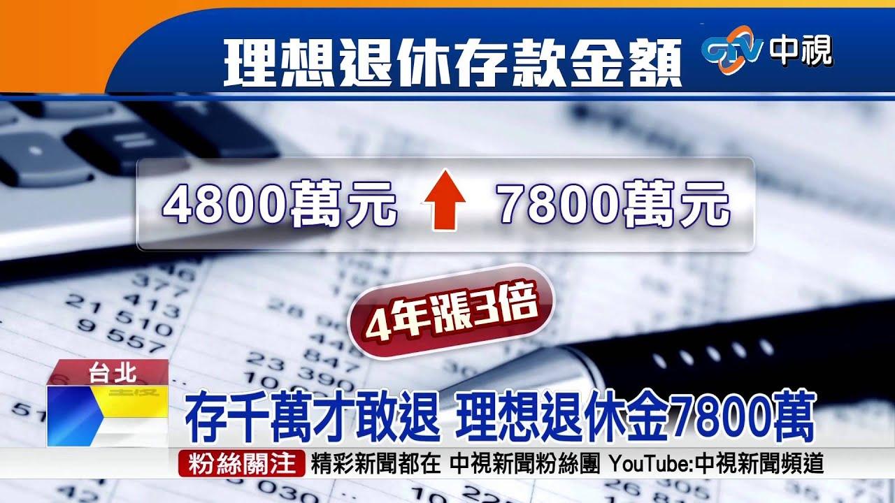 【中視新聞】存千萬才敢退 理想退休金7800萬 20150226 - YouTube