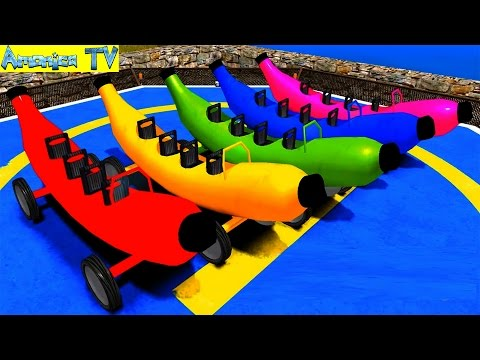 Colours Vehicle Banana Car || Learn Colors & Numbers Transportation complication - Amonica TV