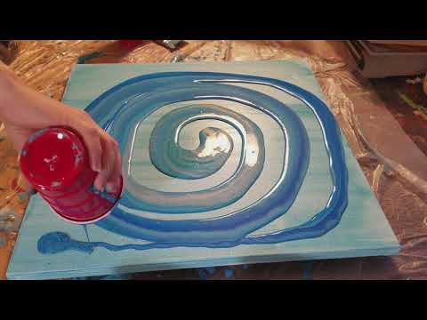 Acrylic Pour with Blues