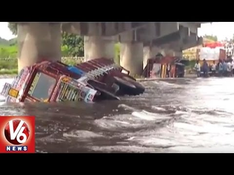 Lorry And DCM Drowned In Musi River | Nalgonda | V6 News