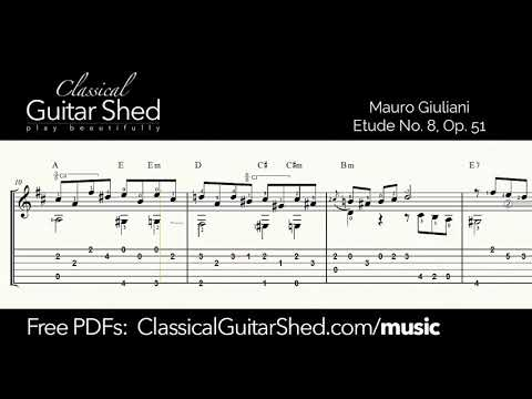 Giuliani: Op 51 No 8 - Free sheet music and TABS for classical guitar