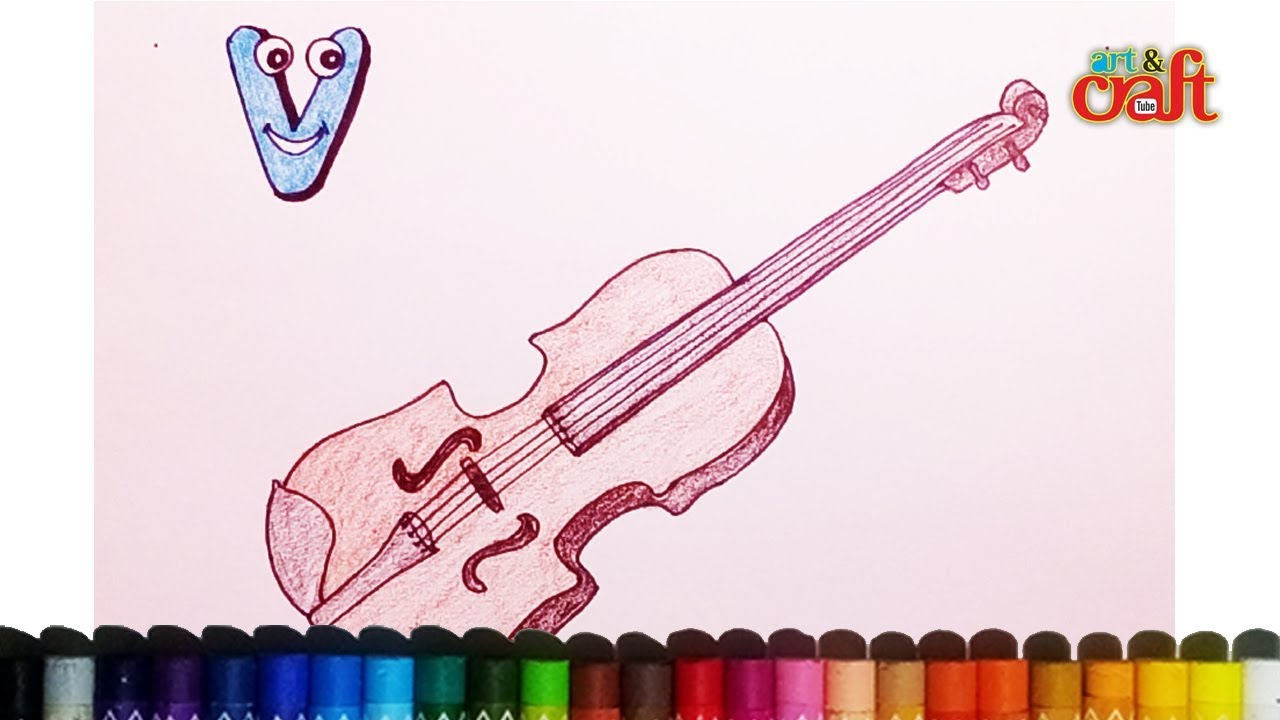 How to draw and color Violin for alphabet letter \'V\' ? रगींन ...