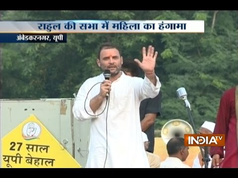 Woman Fails to Meet Rahul Gandhi, Creates Ruckus at 'Khaat Sabha' in Ambedkar Nagar