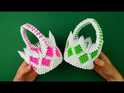 Модульное оригами корзинка. [Из бумаги своими руками]