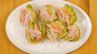 Тарталетки с творожным сыром и авокадо