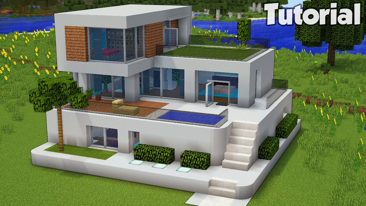 Download Minecraft: How to Build a Large Modern House Tutorial (Easy) #30 +Interior In Desc