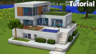 Minecraft: How to Build a Large Modern House Tutorial (Easy) #30 +Interior In Desc