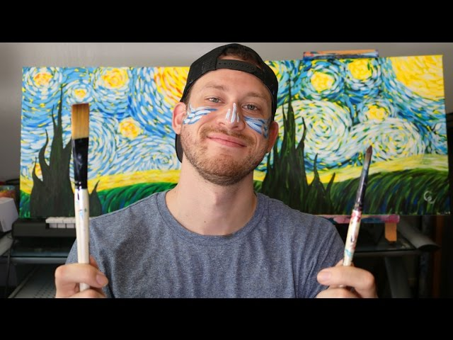 How To Paint Starry Night By Vincent Van Gogh Step By Step Tutorial Youtube