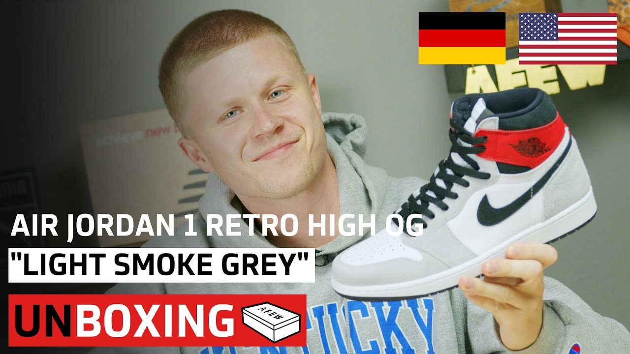 Air Jordan 1 Retro High Og Light Smoke Grey Unboxing Afew
