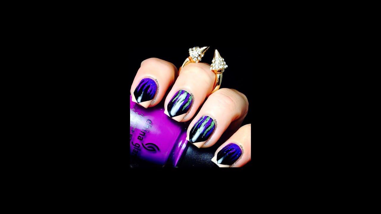 Maleficent nail art - YouTube