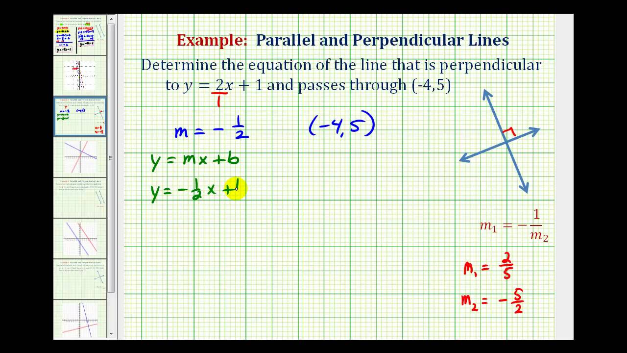 ex 1 find the equation of a line perpendicular to a given line passing through a given point youtube [ 1280 x 720 Pixel ]