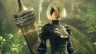 NieR: Automata - E3 Gameplay Part 2 (New Area, First Village with NPC - PS4, 1080p)