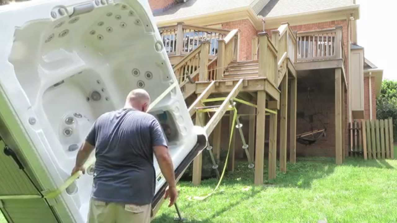 how to cut up a hot tub from deck