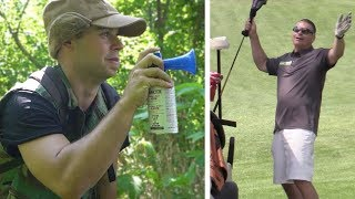 AIRHORN GOLF PRANK! (GOLFERS COME AFTER US) thumbnail