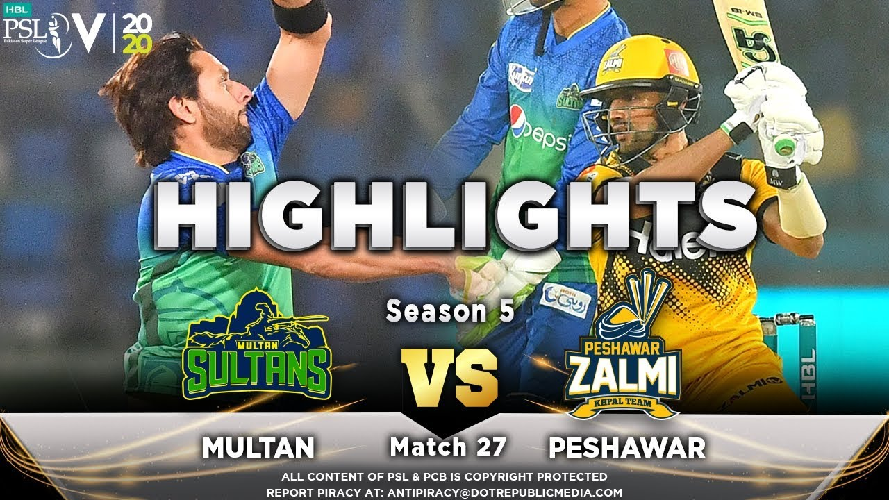 Peshawar Zalmi vs Multan Sultans | Full Match Highlights | Match 27 | 13 March | HBL PSL 2020
