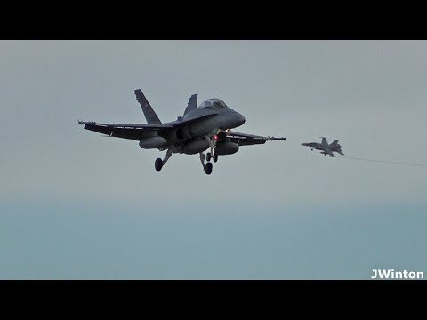 11 Swiss Air Force F-18 Hornets landing at RAF Lossiemouth
