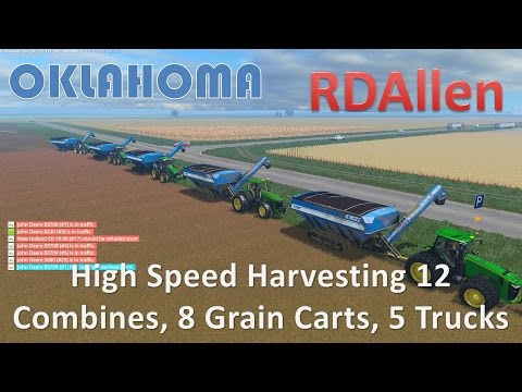 High Speed Harvesting 12 Combines, 8 Grain Carts, and 5 Trucks - Farming Simulator 15 Oklahoma