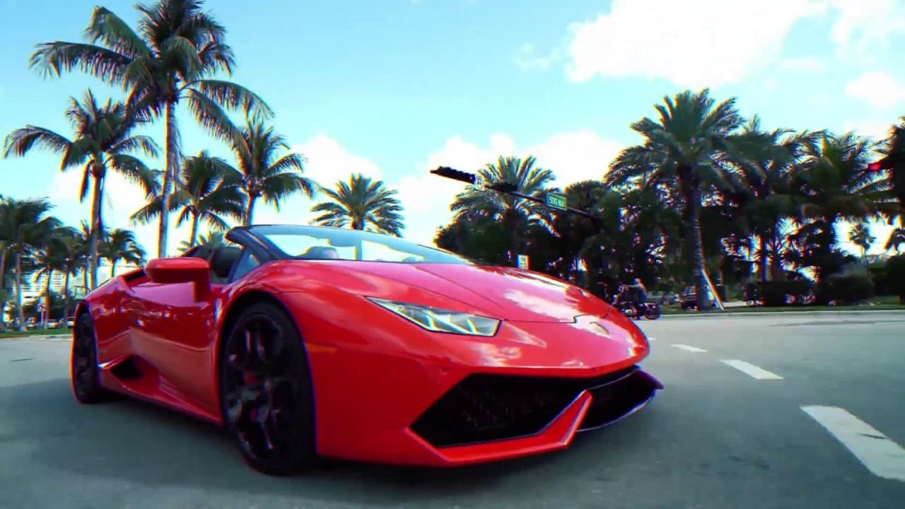 Cruising in Miami on Red Lamborghini Huracan Spyder I ...