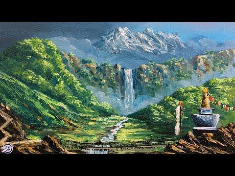 Mountain | Waterfall | Stupa | Beautiful Acrylic Landscape Painting Tutorial | Scenery Painting art