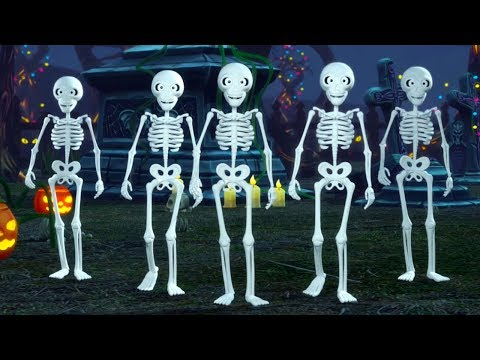 Five Little Skeletons | Halloween Nursery Rhymes for Kids | Kindergarten Cartoon by Little Treehouse