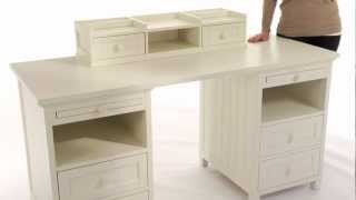 Stylish And Spacious Beadboard Basic Desk And Hutch Set | Pbteen