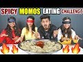 GIRLS BLIND FOLD MOMOS EATING CHALLENGE | GIRLS SPICY MOMOS COMPETITION | Food Challenge (Ep-107)