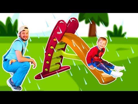 Rain Rain Go Away! #22 Story on the Indoor Playground -Nursery Rhymes Song with Mirik Yarik and Papa