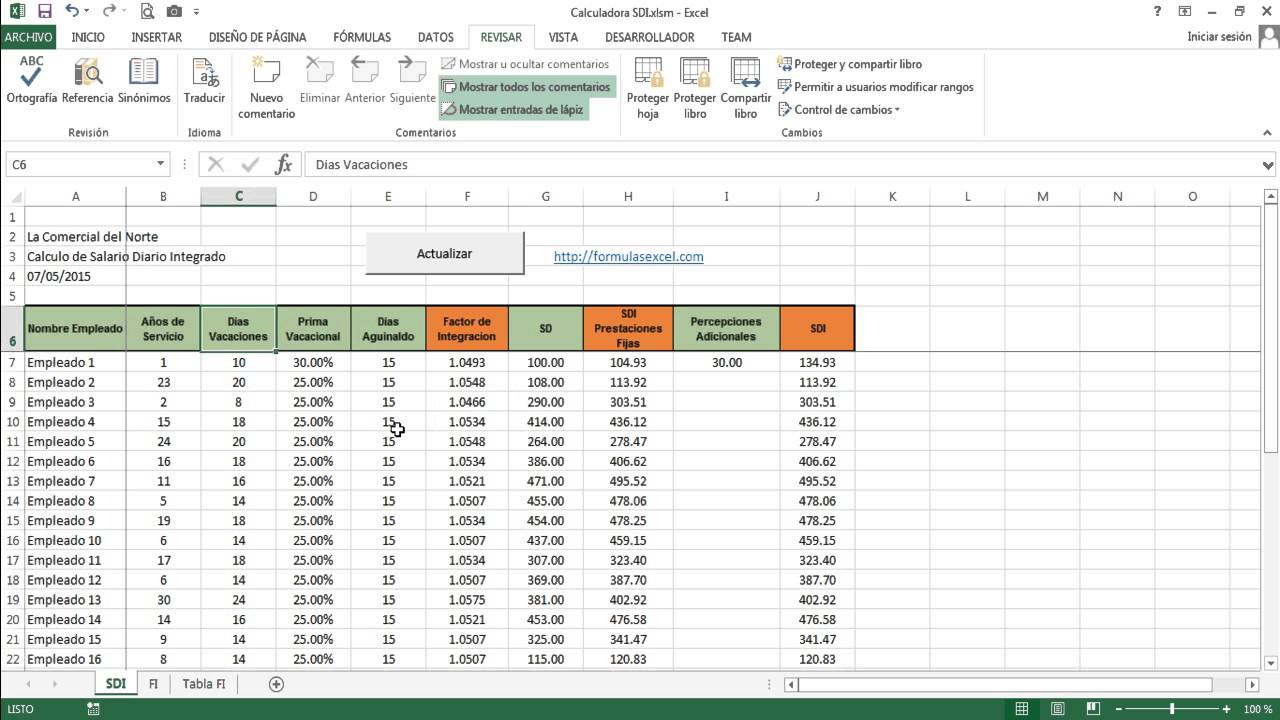 Calculadora sdi salario diario integrado en excel for Calculo nomina semanal excel 2016