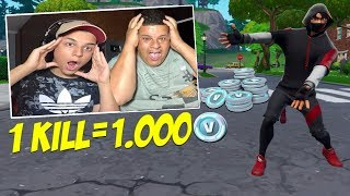 EACH KILL = 1000 VBUCKS AT FORTNITE ONE MORE BET WITH MY FATHER (VERY FUNNY)
