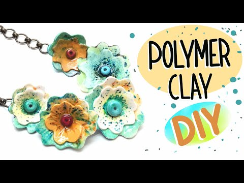 Polymer clay brusho pigments and resin- Flowers Necklace- Tutorial
