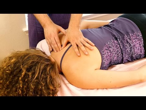 How to Massage the Upper Back for Neck Pain, Shoulder & Scalp for Headaches,  ASMR Relaxing Music