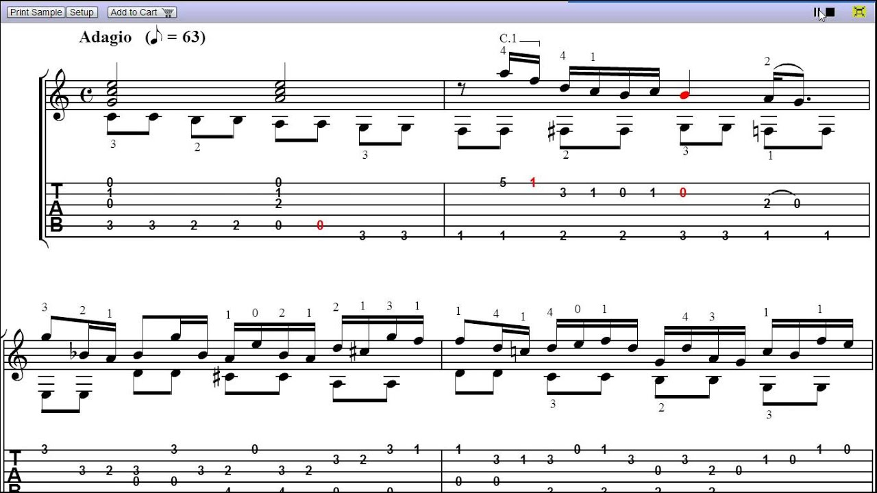 air on the g string guitar solo sheet music teaser youtube. Black Bedroom Furniture Sets. Home Design Ideas