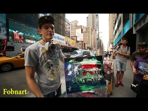 Spray Painting in New York - Street Artist Painting - Spray Paint Art